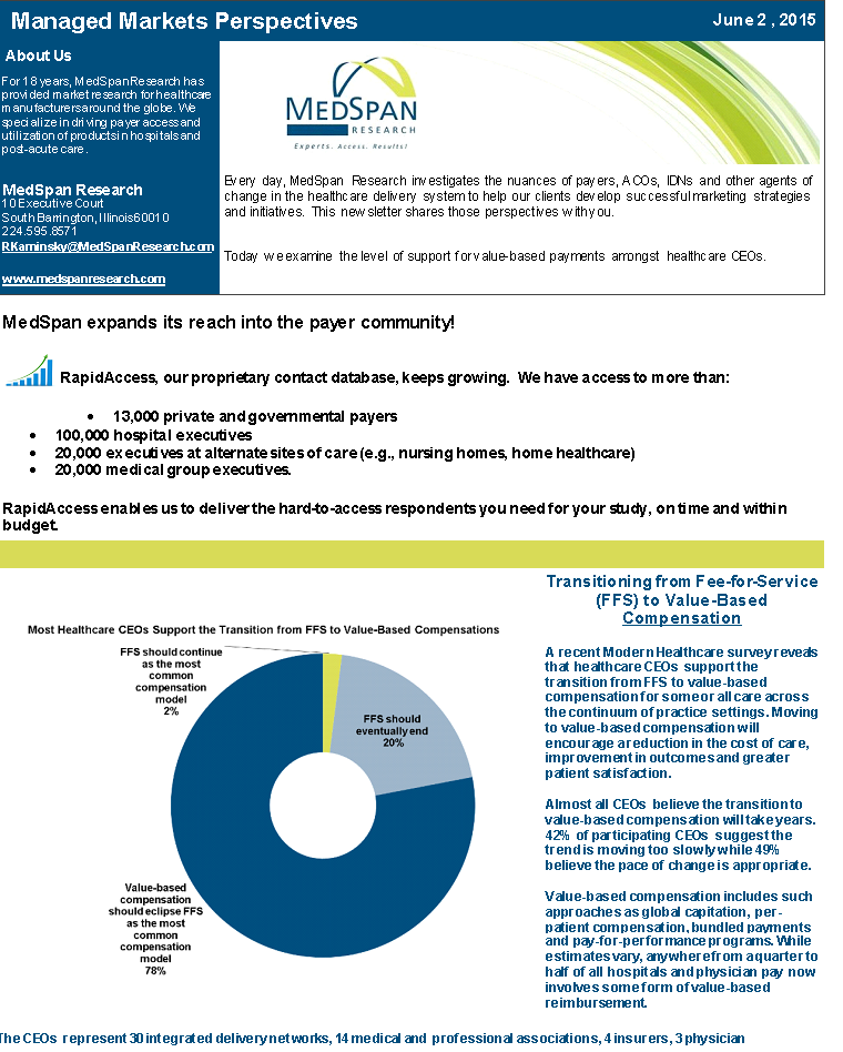 2015 06 02 Newsletter-Support of Value-Based Payments