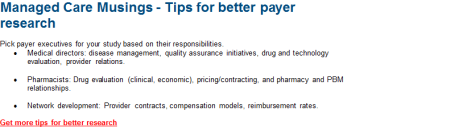 2015 07 21 2nd section managed care musings Tips for better payer research